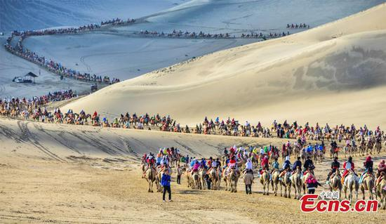 Gobi desert attraction in peak season
