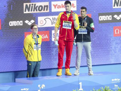 FINA warns Horton over his behavior at men's 400m free victory ceremony