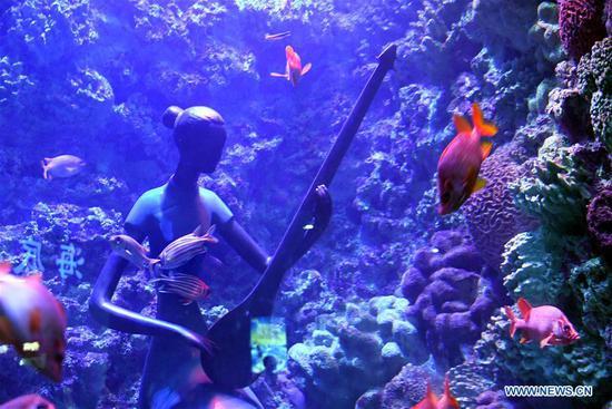 Statues installed underwater in aquariums at ocean park in Qingdao
