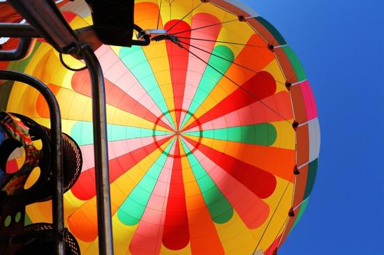 Balloons fly high over Gansu's Danxia landscape