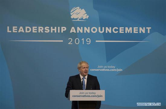 Newly elected Conservative party leader Boris Johnson gives a speech during the Conservative Leadership announcement at the Queen Elizabeth II Centre in London, Britain, July 23, 2019. Former British Foreign Secretary and ex-mayor of London Boris Johnson was elected the leader of the ruling Conservative party on Tuesday and set to become the country's prime minister. (Xinhua)