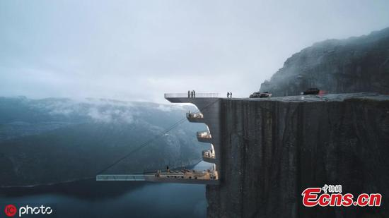 Architectural design studio to create hotel suspended from cliff in Norway
