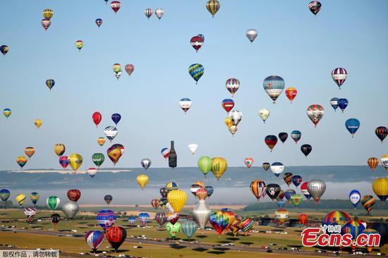 Hundreds of hot air balloons over France