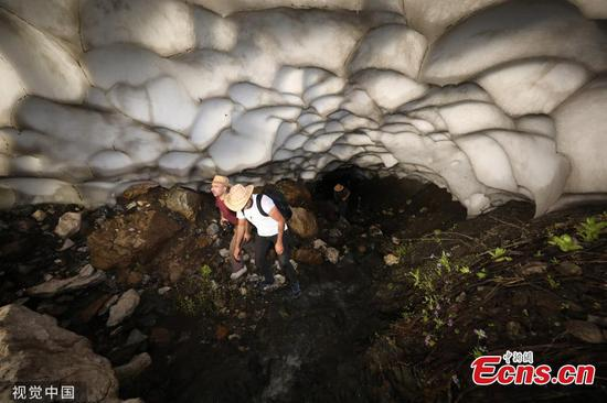 Melting snow form caves and tunnels in Turkey's Batman