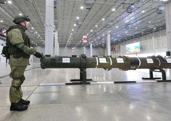 The 9M728 missile container is demonstrated at the Patriot Congress and Exhibition Center, outside Moscow, Russia, on Jan. 23, 2019. (Xinhua/Bai Xueqi)