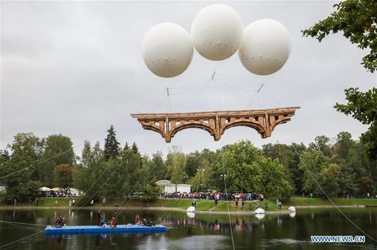 Flying bridge assembled, installed in Ostankino park of Moscow(