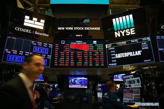 Traders work at the New York Stock Exchange in New York, the United States, on Aug. 5, 2019. U.S. stocks plunged on Monday as investors worry that U.S. President Donald Trump's threatened new tariffs on Chinese imports will worsen trade prospects. The Dow Jones Industrial Average decreased 767.27 points, or 2.90 percent, to 25,717.74. The S&P 500 fell 87.31 points, or 2.98 percent, to 2,844.74. The Nasdaq Composite Index was down 278.03 points, or 3.47 percent, to 7,726.04. (Xinhua/Guo Peiran)