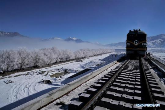 Photo taken on Dec 23, 2018 shows a construction site on the Lhasa-Nyingchi section of the Sichuan-Tibet Railway in Southwest China's Tibet autonomous region. (Photo/Xinhua)
