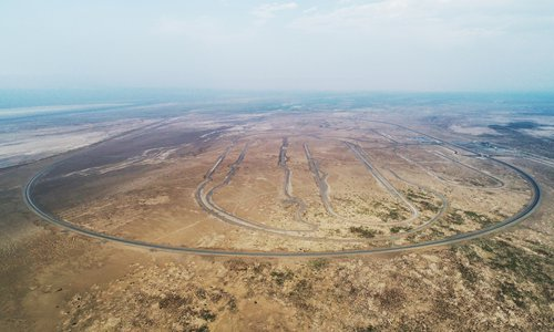 The world's largest vehicle testing field in Turpan, Northwest China's Xinjiang Uyghur Autonomous Region (Photo/Courtesy of China Tiesiju Civil Engineering Group)