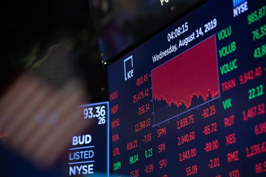 Trading chart is seen on an electronic screen at the New York Stock Exchange in New York, the United States, on Aug. 14, 2019. (Xinhua/Guo Peiran)