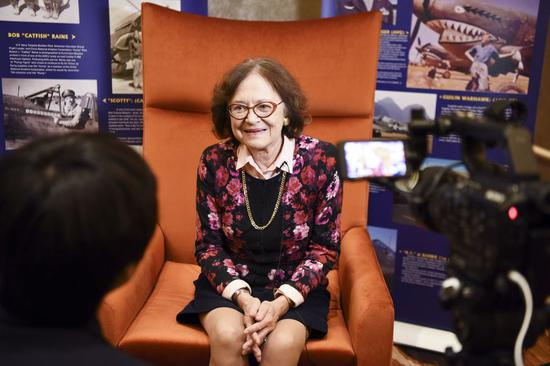 Photo taken on May 11, 2019 shows Cynthia Chennault, daughter of late U.S. General Claire Lee Chennault, speaking during an interview with Xinhua on the sidelines of the 4th Sino-American Second World War Friendship and Flying Tigers History Conference in Las Vegas, the United States. (Xinhua/Han Fang)