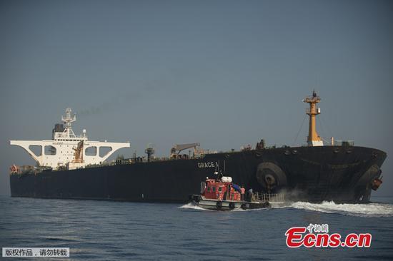 直布罗陀释放的伊朗超级油轮