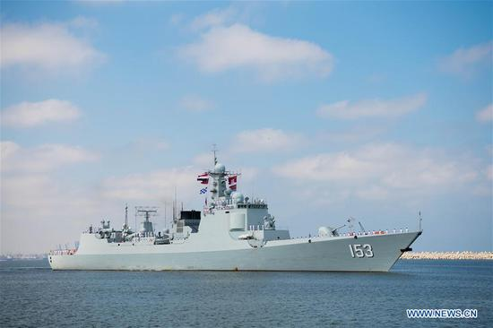 Chinese missile destroyer 'Xi'an' makes technical stop in Egypt's Alexandria