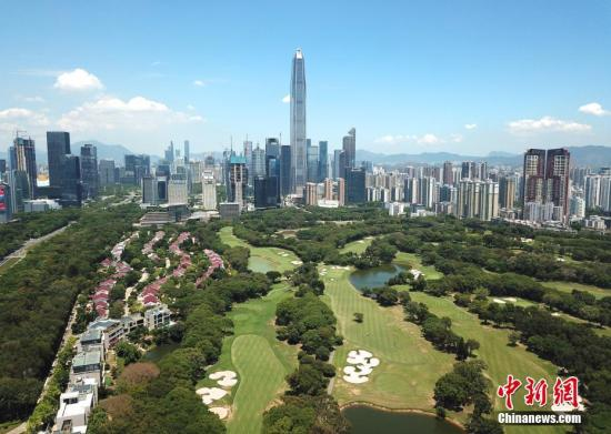 Aerial view of a financial zone in Shenzhen. (File photo/China News Service)