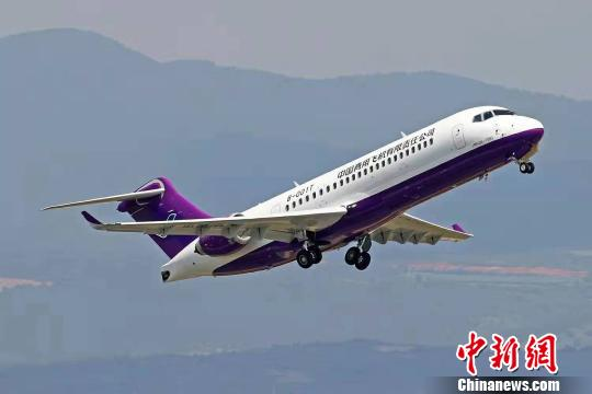 A China-developed ARJ21 jetliner makes a test flight in Yunnan Province, Aug. 19, 2019. (Photo/China News Service)