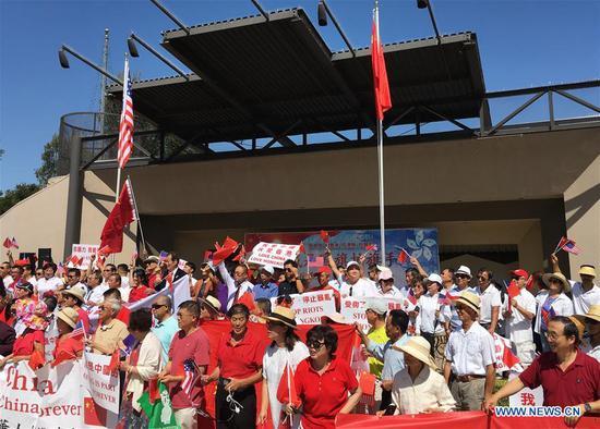 南加州华人集会反对香港暴力