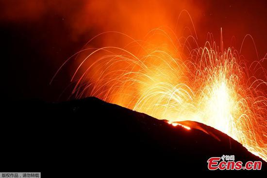 Lava flows as Italy's Stromboli volcano erupts