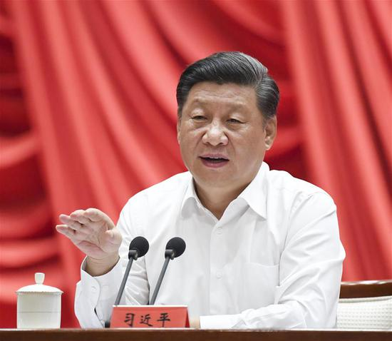 Chinese President Xi Jinping, also general secretary of the Communist Party of China (CPC) Central Committee and chairman of the Central Military Commission, makes a speech during the opening ceremony of a training program for young and middle-aged officials at the Party School of CPC Central Committee (National Academy of Governance), Sept. 3, 2019. (Xinhua/Rao Aimin)