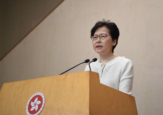Chief Executive of China's Hong Kong Special Administrative Region (HKSAR) Carrie Lam speaks during a media session in Hong Kong, south China, Sept. 10, 2019. (Xinhua)