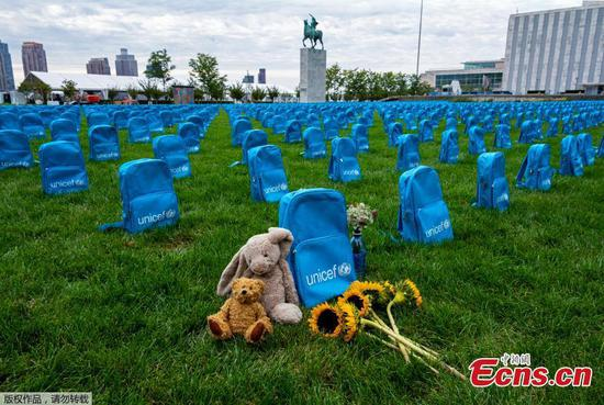3,758 backpacks, 3,758 lives lost: UNICEF 'graveyard' installation highlights scale of child deaths in conflict