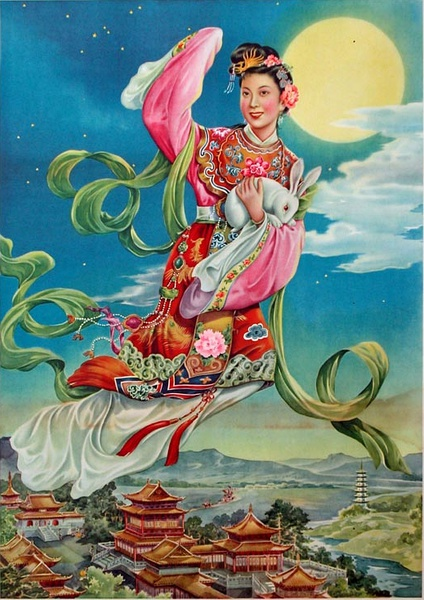 an ancient painting of Chang'e flies to the moon. (Photo/Wu Shaoyun)