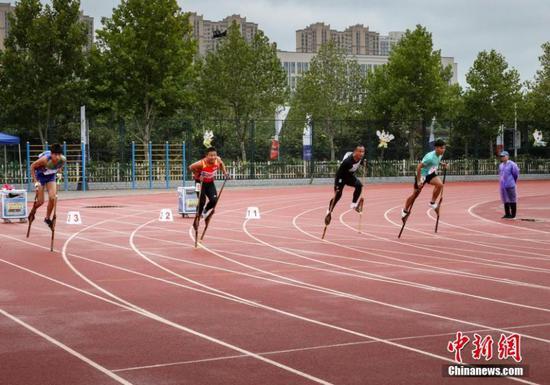 Stick-walker race at Ethnic Games