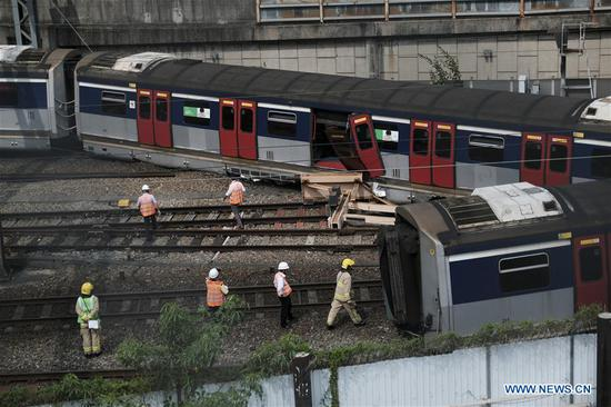 8 people injured after train derails near Hong Kong's Hung Hom MTR station