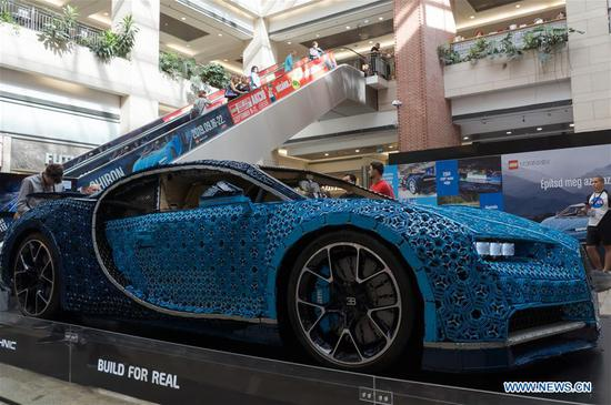 Life-size Bugatti Chiron replica made of Lego Technic bricks displayed in Budapest