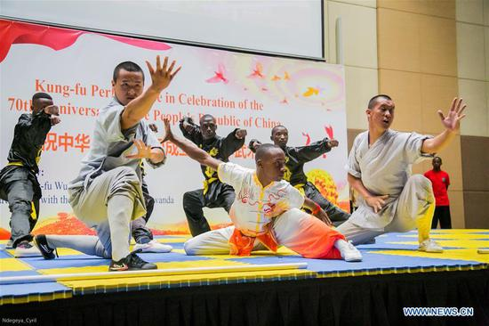 Kung Fu show staged in Rwanda to celebrate 70th anniversary of founding of PRC