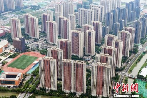 Aerial view of a residential area under the construction in Nanjing, Jiangsu Province.(File photo/China News Service)