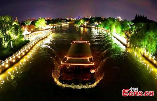 Suzhou riverside lights up at night
