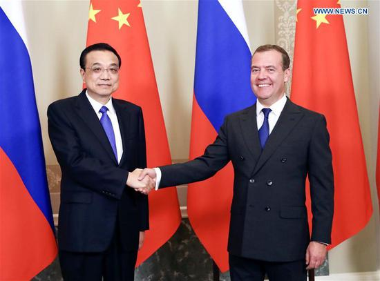 Chinese Premier Li Keqiang and his Russian counterpart Dmitry Medvedev co-chair the 24th regular meeting between Chinese and Russian heads of government in St. Petersburg, Russia, Sept. 17, 2019. (Xinhua/Ding Lin)