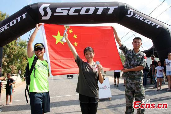 Chinese peacekeepers in triathlon in Lebanon