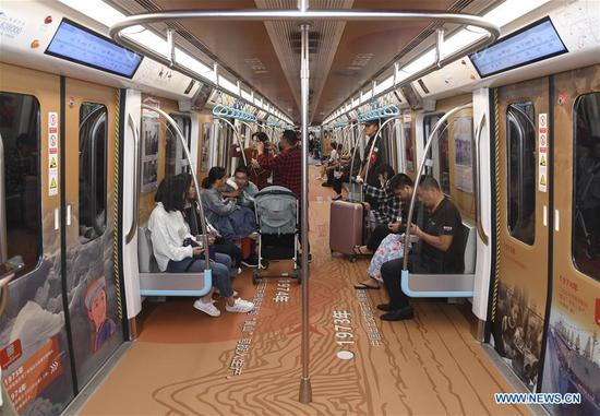 Chengdu subway train turned into temporary museum to celebrate upcoming National Day