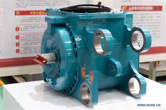 Magnet traction motor designed for trains unveils in China's Hunan