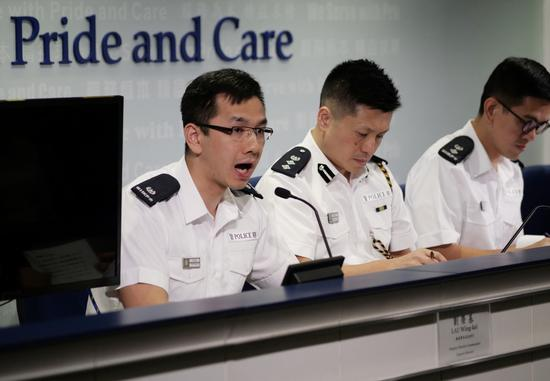 Hong Kong police officers pledge to take swift action against any street violence or other illegal activities in Hong Kong, on Sept 20, 2019. [Photo/Xinhua]