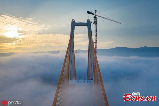 壮观的高桥被雾笼罩