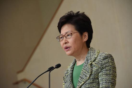 Chief Executive of China's Hong Kong Special Administrative Region (HKSAR) Carrie Lam speaks at a media briefing in south China's Hong Kong, Sept. 24, 2019. (Xinhua/Lui Siu Wai)