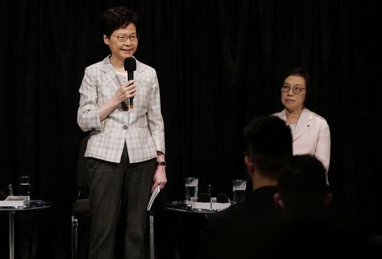 HKSAR Chief Executive Carrie Lam talks to about 150 representatives at the 1st