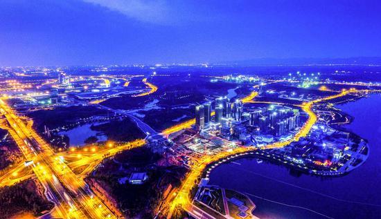 Aerial photo taken on April 22, 2017 shows buildings of a science city in Chengdu Tianfu New Area of China (Sichuan) Pilot Free Trade Zone (FTZ), southwest China's Sichuan Province. (Xinhua/Xue Yubin)