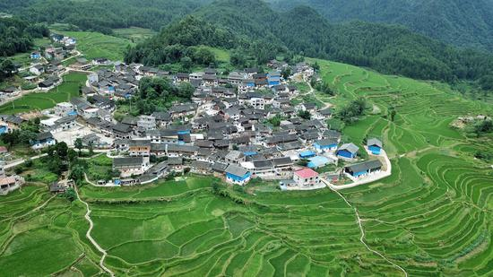 Aerial photo taken on July 1, 2019 shows a scenery of the Gaoyao terraced fields in Longquan Township of Danzhai County, southwest China's Guizhou Province. (Xinhua/Ou Dongqu)