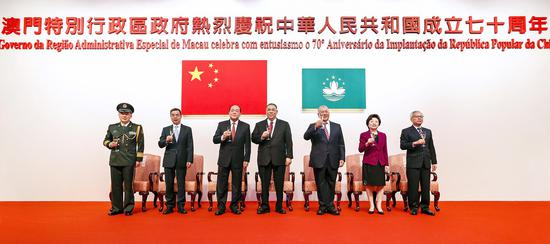 China's Macao Special Administrative Region government holds a reception to celebrate the 70th anniversary of the founding of the People's Republic of China in Macao, China, September 29, 2019. /Xinhua Photo