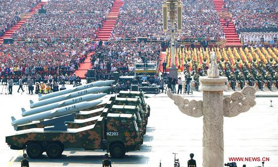 A formation of anti-ship cruise missiles takes part in a grand military parade celebrating the 70th anniversary of the founding of the People's Republic of China in Beijing, capital of China, Oct. 1, 2019. (Xinhua/Lan Hongguang)
