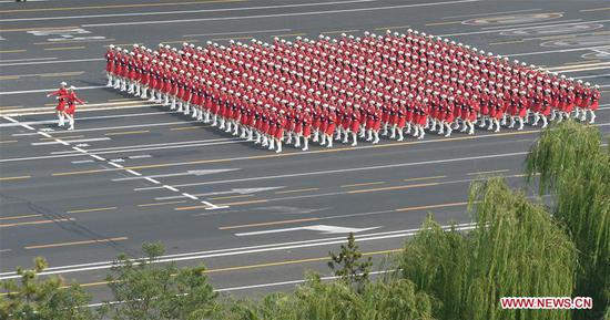 A women militia formation receive inspection during a military parade celebrating the 70th founding anniversary of the People's Republic of China (PRC) in Beijing, capital of China, Oct. 1, 2019. (Xinhua/Wang Jianwei)