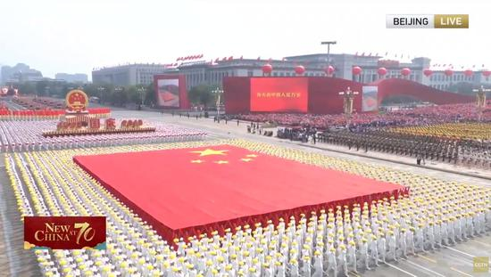 A mass pageantry kicks off on Tian'anmen Square in central Beijing following a grand military parade Tuesday to celebrate the 70th founding anniversary of the People's Republic of China. (Photo/CGTN)