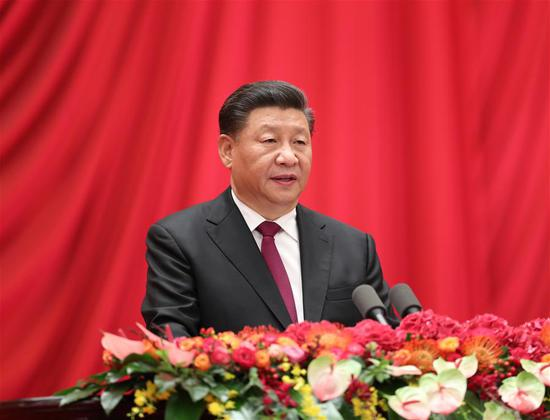 Chinese President Xi Jinping, also general secretary of the Communist Party of China (CPC) Central Committee and chairman of the Central Military Commission, delivers an important speech at a reception to celebrate the 70th anniversary of the founding of the People's Republic of China (PRC) at the Great Hall of the People in Beijing, capital of China, Sept. 30, 2019. (Xinhua/Huang Jingwen)