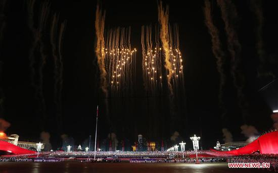 A grand evening gala is staged on the Tian'anmen square to celebrate the 70th anniversary of the founding of the People's Republic of China, in Beijing, capital of China, Oct. 1, 2019. (Xinhua/Ding Haitao)
