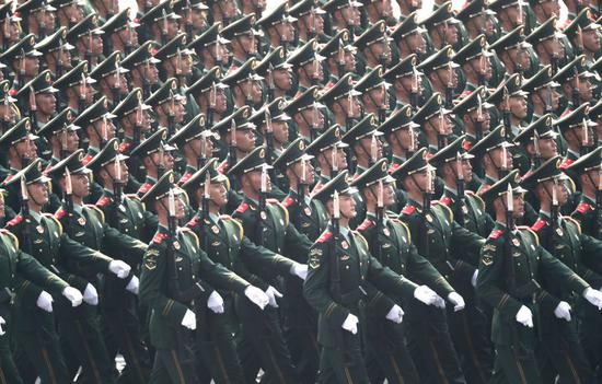 A Chinese People's Liberation Army (PLA) Army formation is reviewed in a military parade celebrating the 70th anniversary of the founding of the People's Republic of China on Oct.1, 2019. (Xinhua)