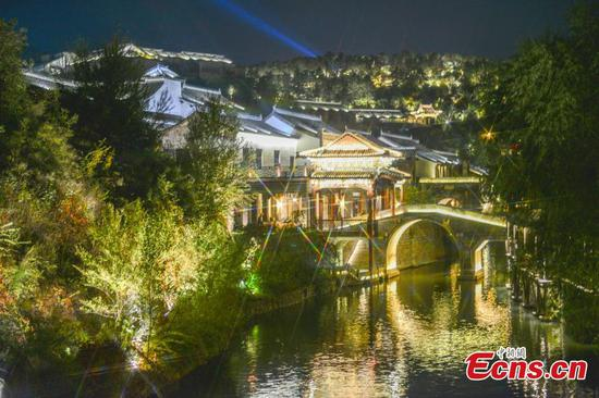 Gubei Water Town in Beijing lights up