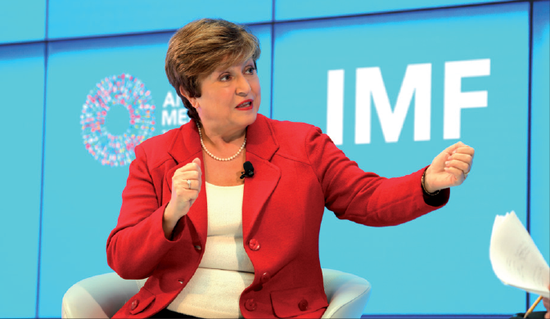Kristalina Kristalina Georgieva, the new International Monetary Fund managing director, speaks at an event on Tuesday at the global lender's headquarters ahead of the annual meetings of the IMF and the World Bank next week. (ZHAO HUANXIN/CHINA DAILY)